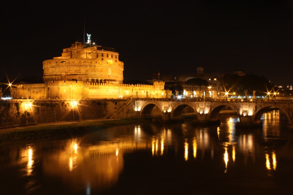 Castel Sant'Angelo and Tiber River at night   Courtesy of Jacopo.