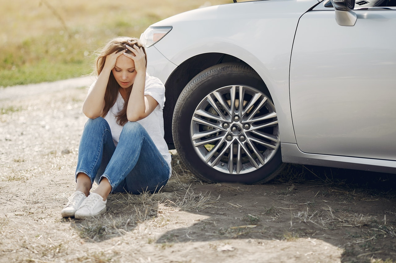 worry woman after a car accident